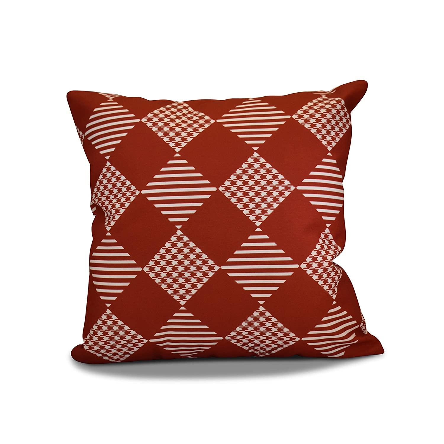 E by design PHGN708RE1-16 16 x 16-inch, Check It Twice Pillow, Red 16x16,