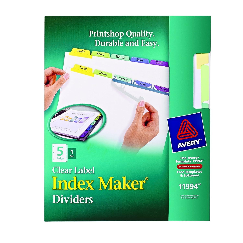 Avery Index Maker claro Etiqueta divisores, 5-tab Set (11994 ...