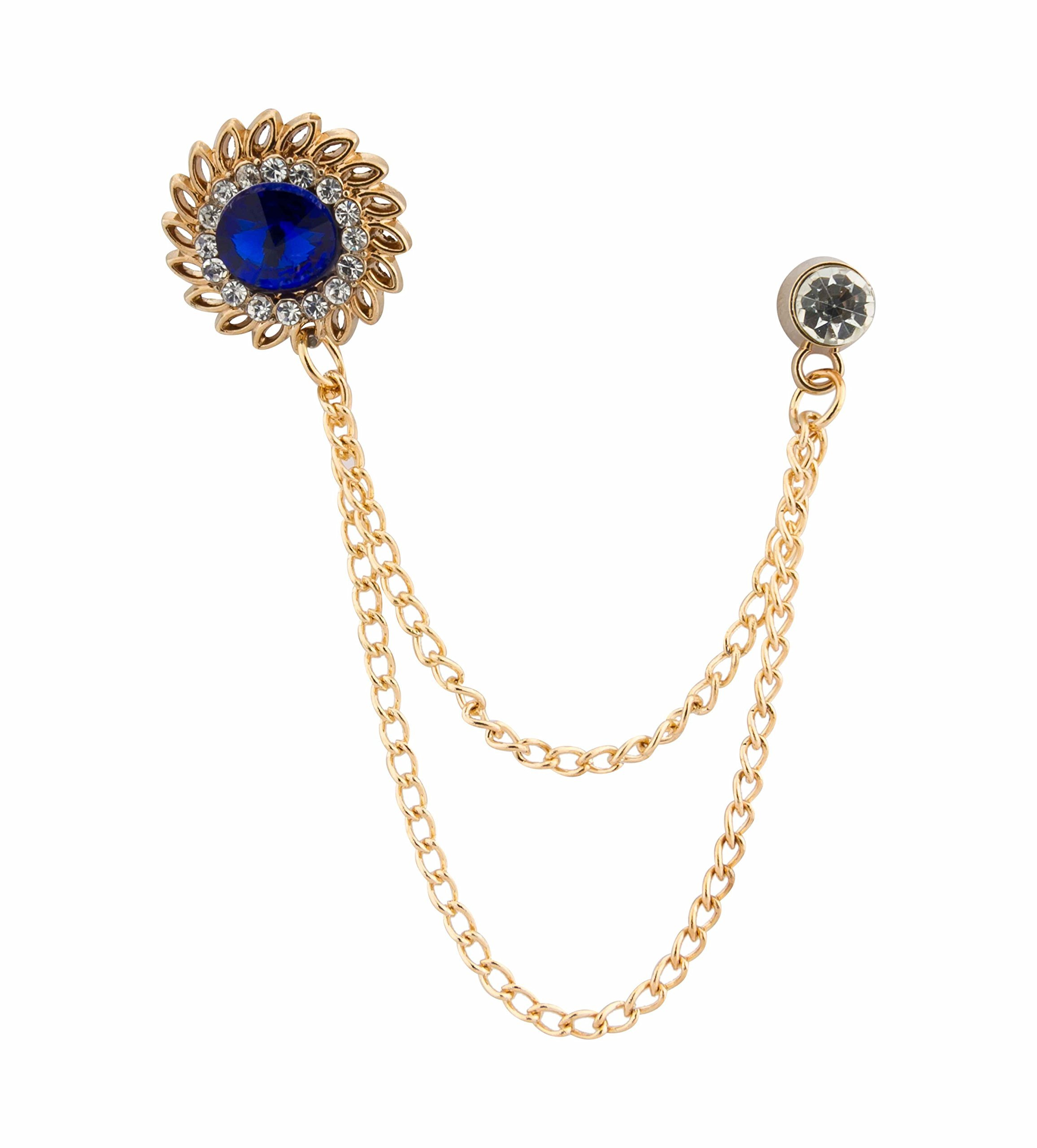 Shirt Studs Mens Accessories A N KINGPiiN Red and Blue Rose with Gold Leaf and Crown with Hanging Chain Lapel Pin Brooch Suit Stud