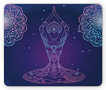 Yoga Mouse Pad, Oriental Spiritual Concept of Woman Doing ...