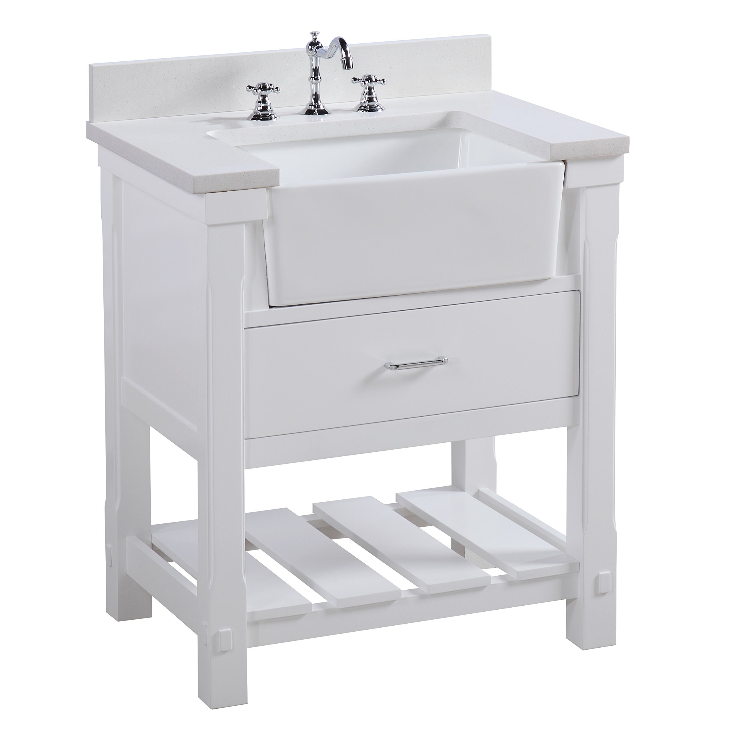 Charlotte 30-inch Bathroom Vanity (Quartz/White): Includes a Quartz Countertop, White Cabinet with Soft Close Drawers, and White Ceramic Farmhouse Apron Sink by Kitchen Bath Collection