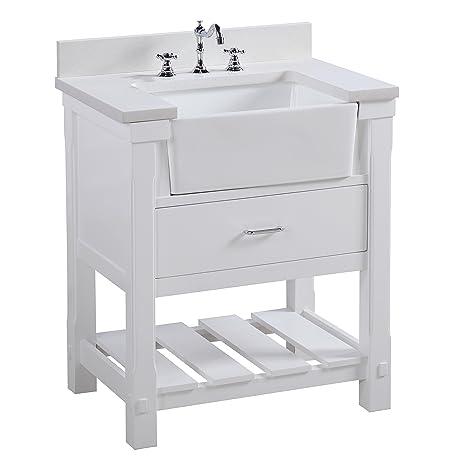 Charlotte 30 Inch Bathroom Vanity (Quartz/White): Includes A White Quartz