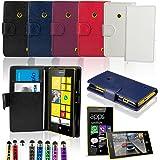 Etui Nokia Lumia 520 - SAVFY® - Housse de Protection en PU Cuir Portefeuille + FILM D'ECRAN + STYLET OFFERTS! Lot 3en1 Accessoires Pochette Coque Case Pour Nokia Lumia 520 - Noir