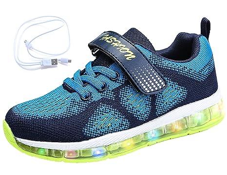 Mr.Ang LED Zapatos, Primavera-Verano-Otoño Transpirable Zapatillas LED 7 Colores