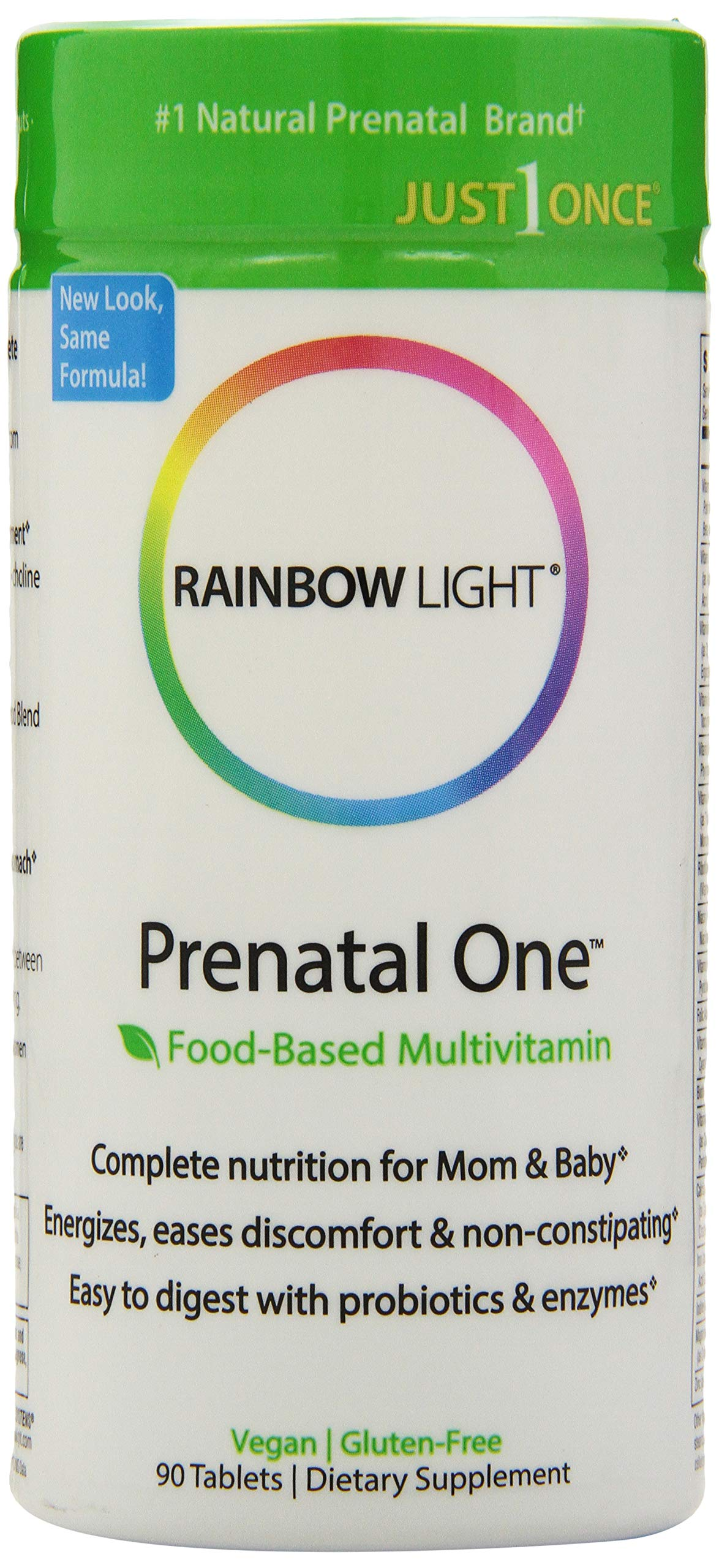 Rainbow Light - Prenatal One Multivitamin, Once Daily to Support Energy and Immunity for Mother and Development for Baby with Folic Acid, Iron and Probiotics, Vegetarian, Gluten-Free, 90 Tablets