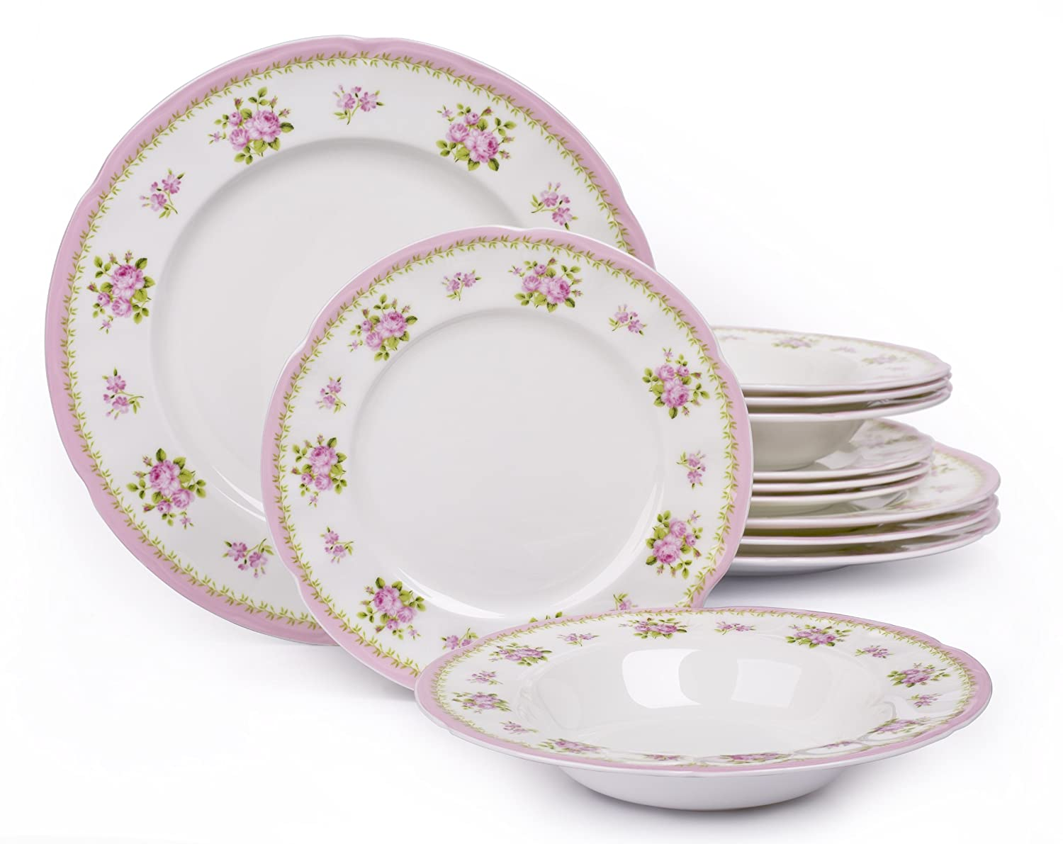 Beautiful 12 Piece Vintage Rose Bone China Dinner Set: Amazon.co.uk: Kitchen U0026 Home