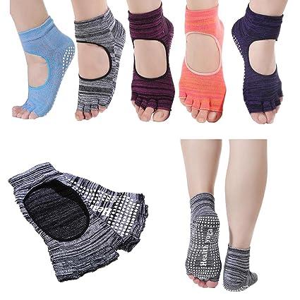 feibi 5 Pares Dedos Yoga Calcetines Antideslizante Barra de Pilates Resbalón con agarres para Mujeres (