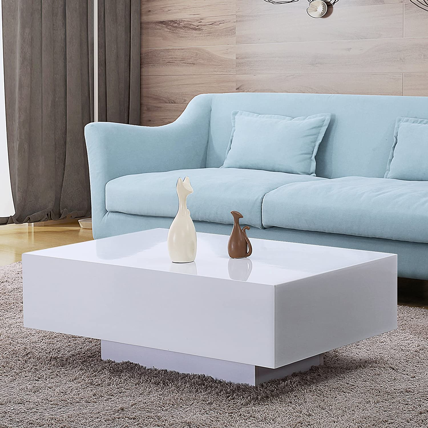 Amazon com mecor high gloss white rectangle coffee table modern side end sofa table 1 layer living room home furniture small size kitchen dining
