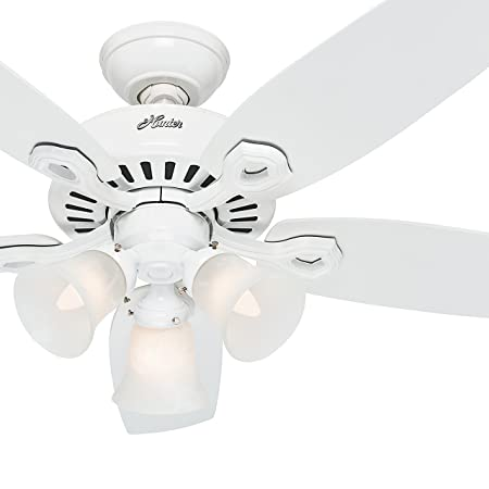 Hunter Fan 42 inch Traditional Snow White Ceiling Fan with Three-Light Fitter and Swirled Marble Glass, 5 Blade Renewed Snow White