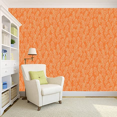 100yellow Leafs With Orange Pattern Self Adhesive Peel Stick Waterproof Wallpaper 26 7 Sqft