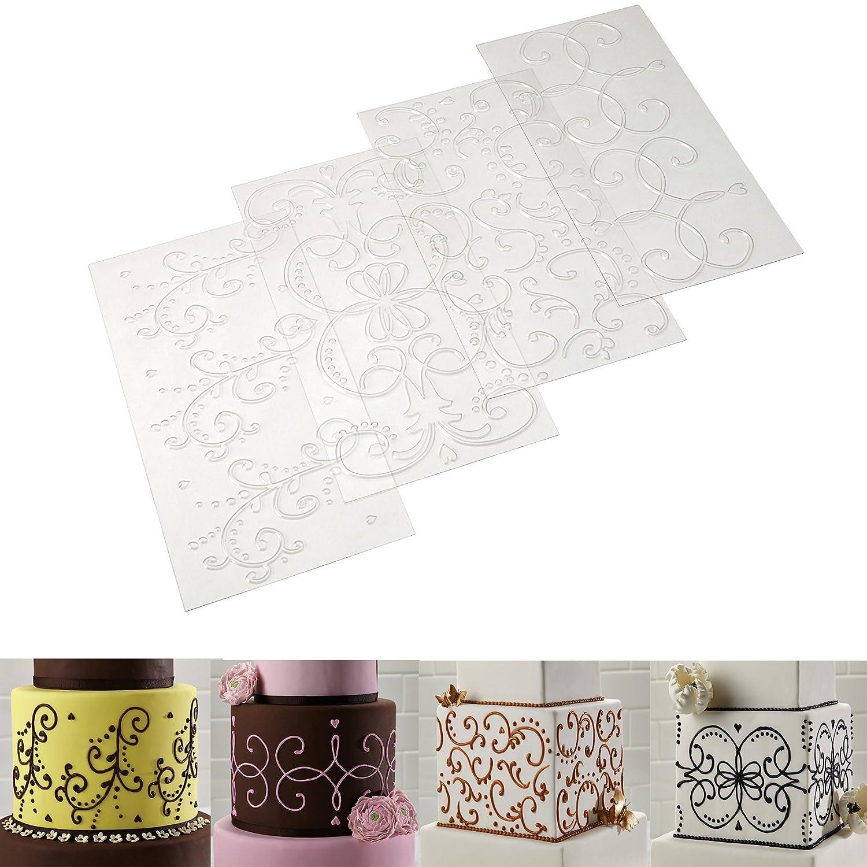 Cake Decorating Mat Decorating Tools 4-Piece Quilted Fondant Imprint Mat Set (4pcs Flower Shape) KOOTIPS Kootips-2-47