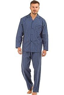 Pijama de hombre Haigman de rayas, 100% de algodón, pantalón y manga largos