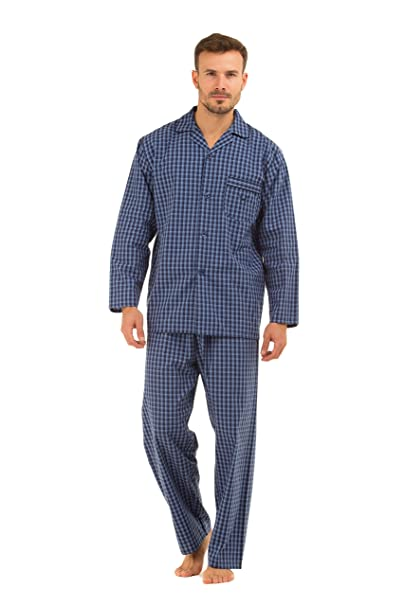 Hombre Haigman Impreso 100% algodón largo pijamas pijama Lounge wear Azul Fine Navy Check Large