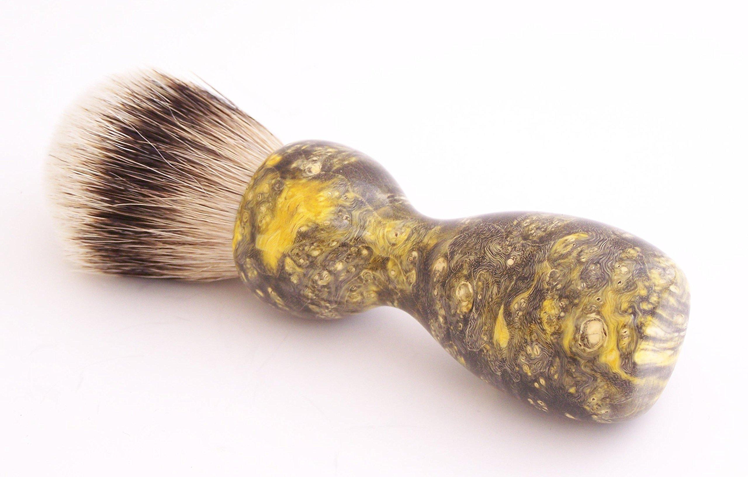Black and Yellow Box Elder Burl Wood 22mm Super Silvertip Shaving Brush (BEB31)