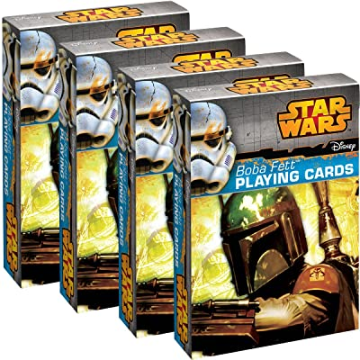 Star Wars Playing Cards (4 Pack) Boba Fett Themed Deck Set, for Kids, Fun Party Favor, 52 Dard Deck: Sports & Outdoors