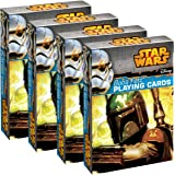 Star Wars Playing Cards (4 Pack) Boba Fett Themed Deck Set, For Kids, Fun Party Favor