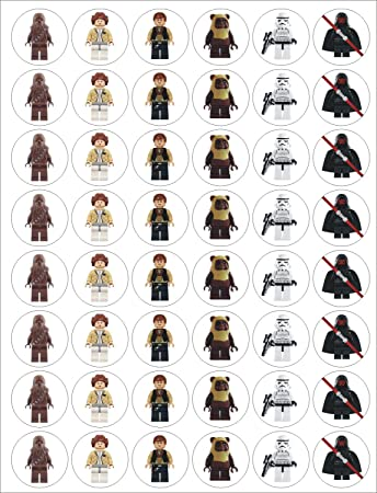 48 Edible Wafer/Rice Paper Lego Star Wars Cupcake Cake Toppers ...