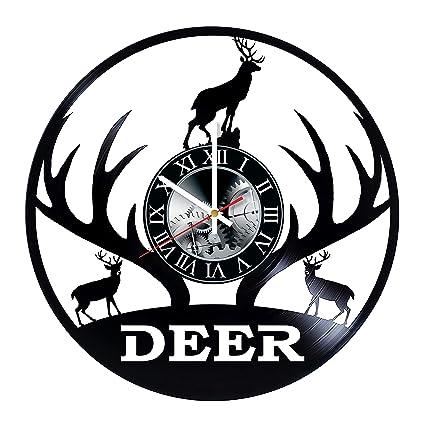 Amazon Com Deer Art Vinyl Record Wall Clock Get Unique Bedroom Or