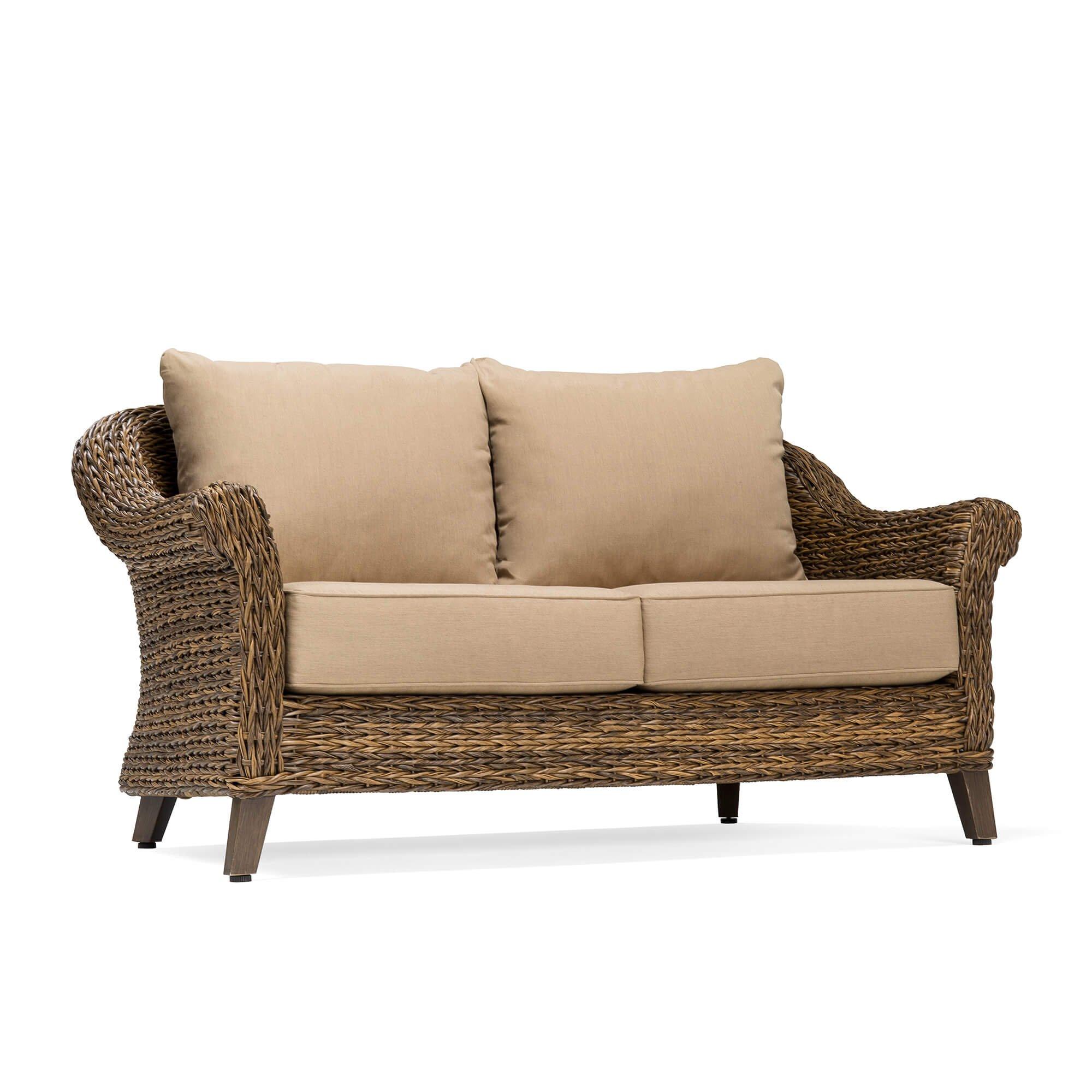 Blue Oak Outdoor Bahamas Patio Furniture Loveseat with Sunbrella Canvas Heather Beige Cushions