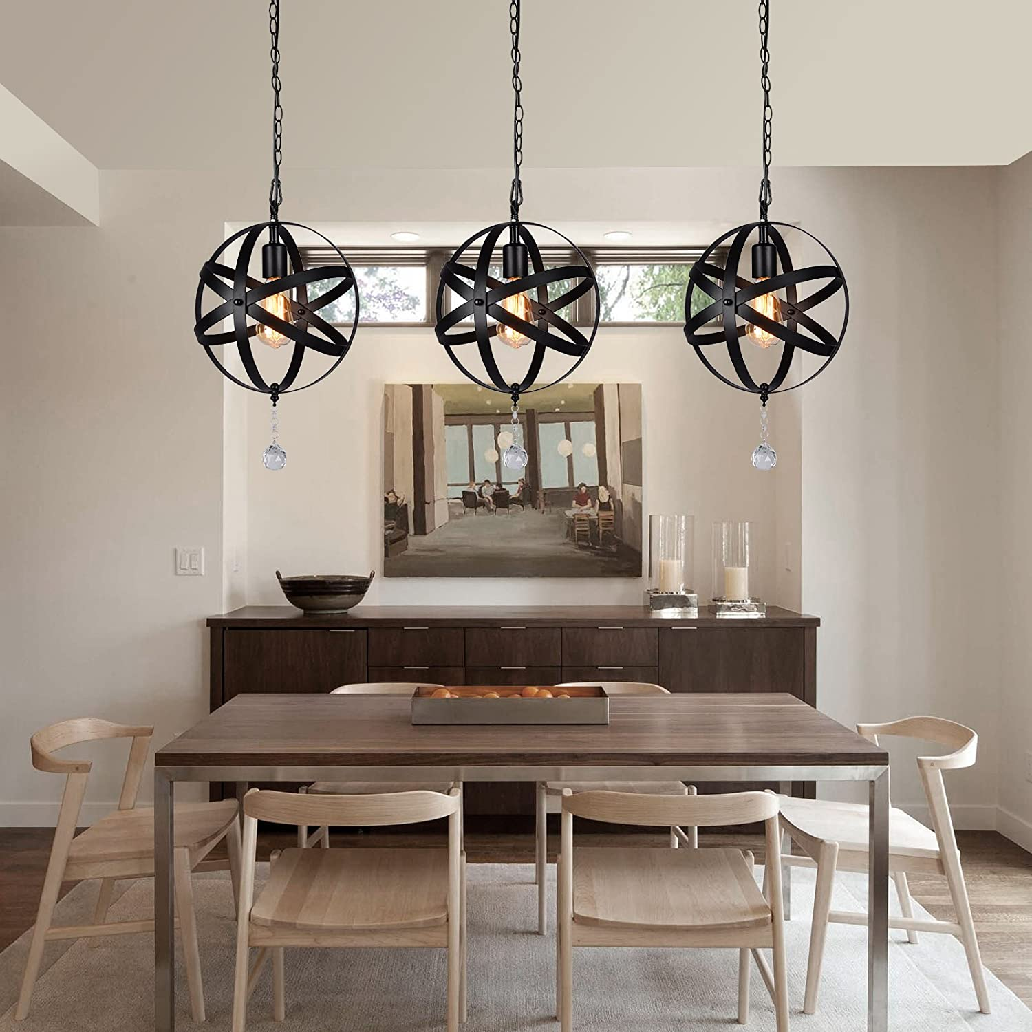 Ceiling Lights Vintage Metal Spherical Lantern Chandelier Swag Ceiling Lighting Fixture For Kitchen Island Bedroom Bar Hmvpl Plug In Industrial Globe Pendant Lights With 16 4ft Hanging Cord And On Off Dimmer Switch Tools