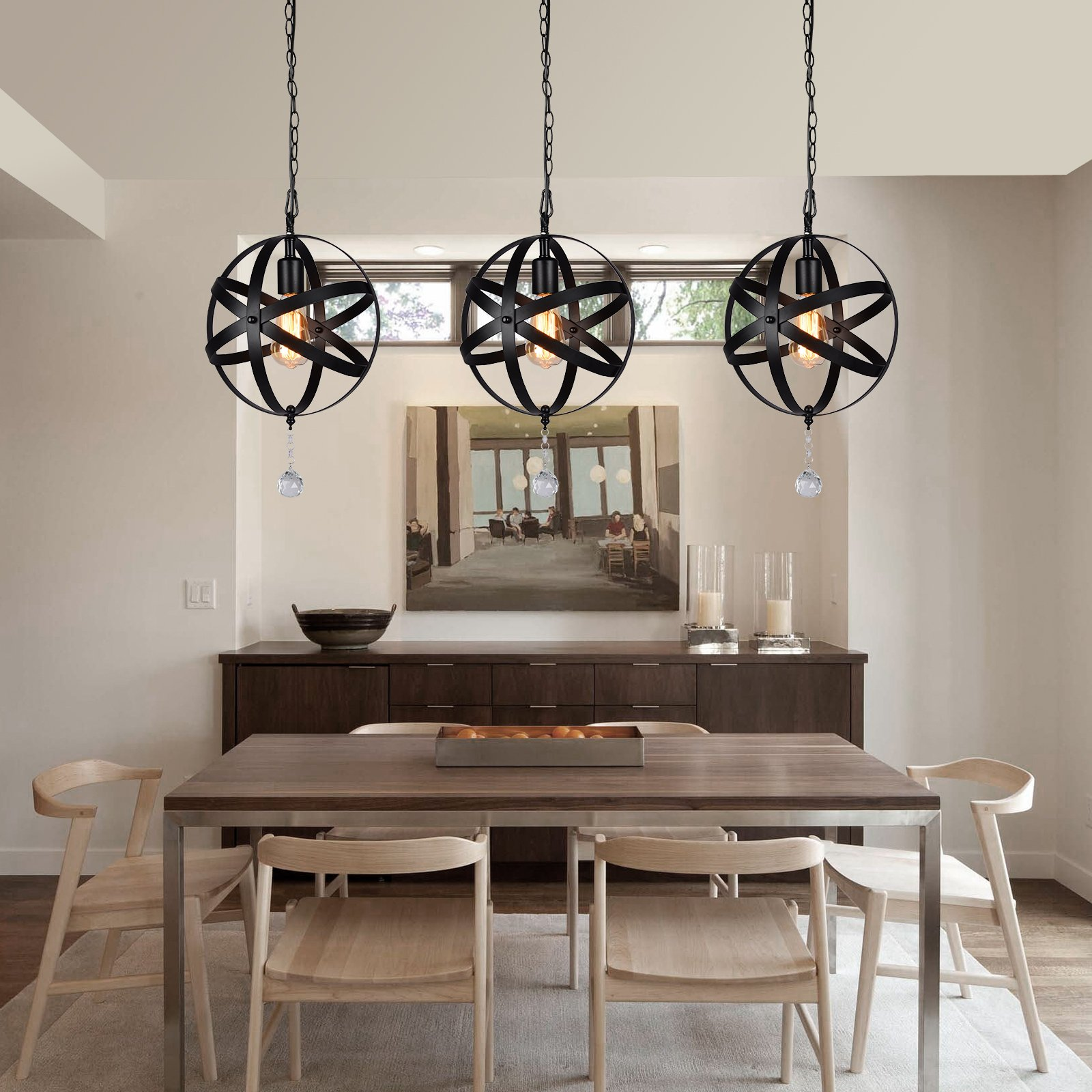 HMVPL Plug-in Industrial Globe Pendant Lights with 16.4 Ft Hanging Cord and Dimmable On/Off Switch, Vintage Metal Spherical Lantern Chandelier Ceiling Light Fixture by HMVPL (Image #4)