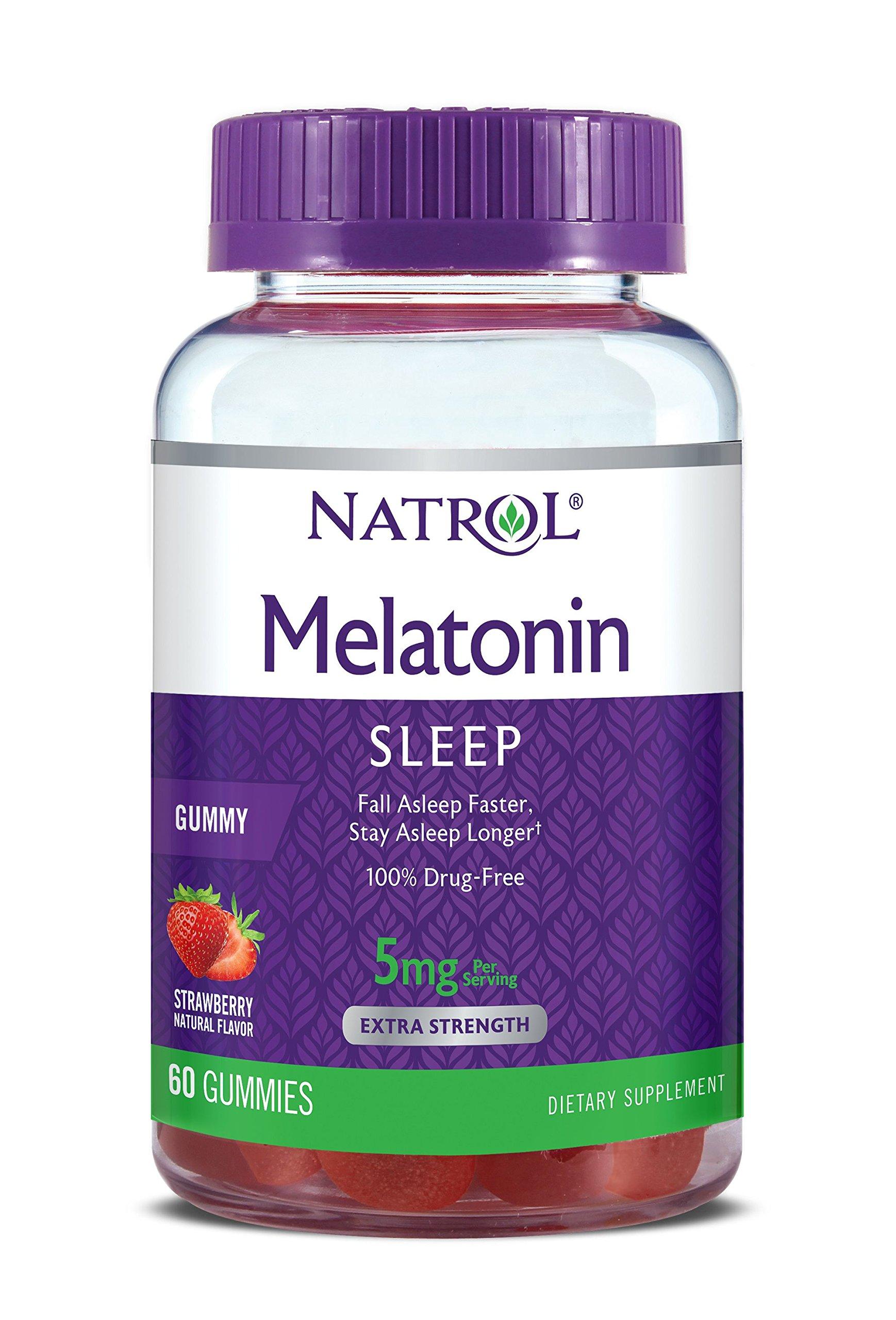 Natrol Melatonin Gummies Strawberry flavor, 5mg, 60 Count