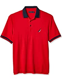abf818c0a Nautica Mens Short Sleeve 100% Cotton Tipped Polo Shirt Polo Shirt
