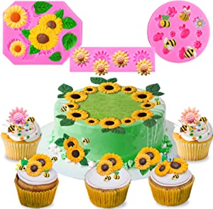 Mity rain (Set of 3) Sunflower Fondant Mold - Bumble Bee Silicone Cake Molds for Baby Shower Birthday Cake Projects Sugar Clay Craft Cookies and Cupcake Decorations