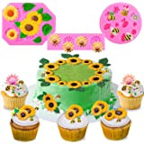 Mity rain (Set of 3) Sunflower Fondant Mold - Bumble Bee Silicone Cake Molds for Baby Shower Birthday Cake Projects Sugar Cla