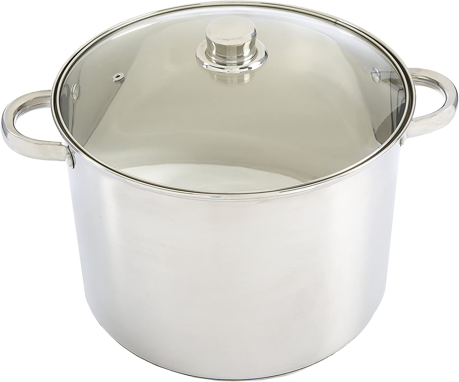 Ecolution Pure Intentions Stock Pot 12 Quart - Vented Tempered Glass Lid - Stainless Steel
