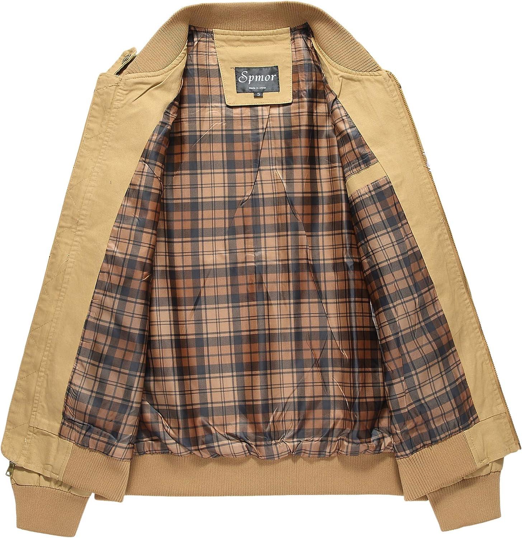 Cheerun Spmor Mens Bomber Jacket Military Jacket Men Lightweight Warm Cotton Casual Jackets Thick Stand Collar Coat