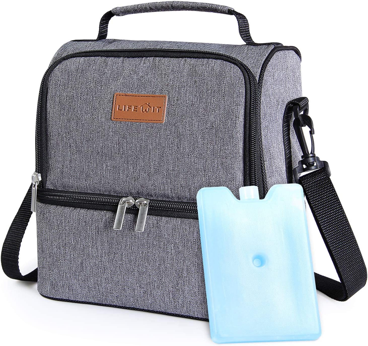 Lifewit 7L Dual Compartment Insulated Lunch Bag with Ice Pack for AdultsMenWomenKids, Water Resistant Leakproof Soft Cooler Bag Thermal Bento Box