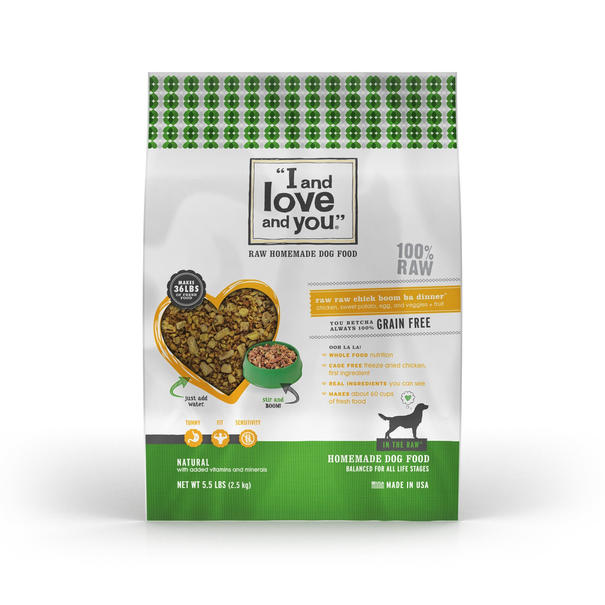 """I and love and you"""" In the Raw 'Raw Raw Chick Boom Ba' Homemade Freeze Dried, Grain Free Dehydrated Dog Food, 5.5 LB"""