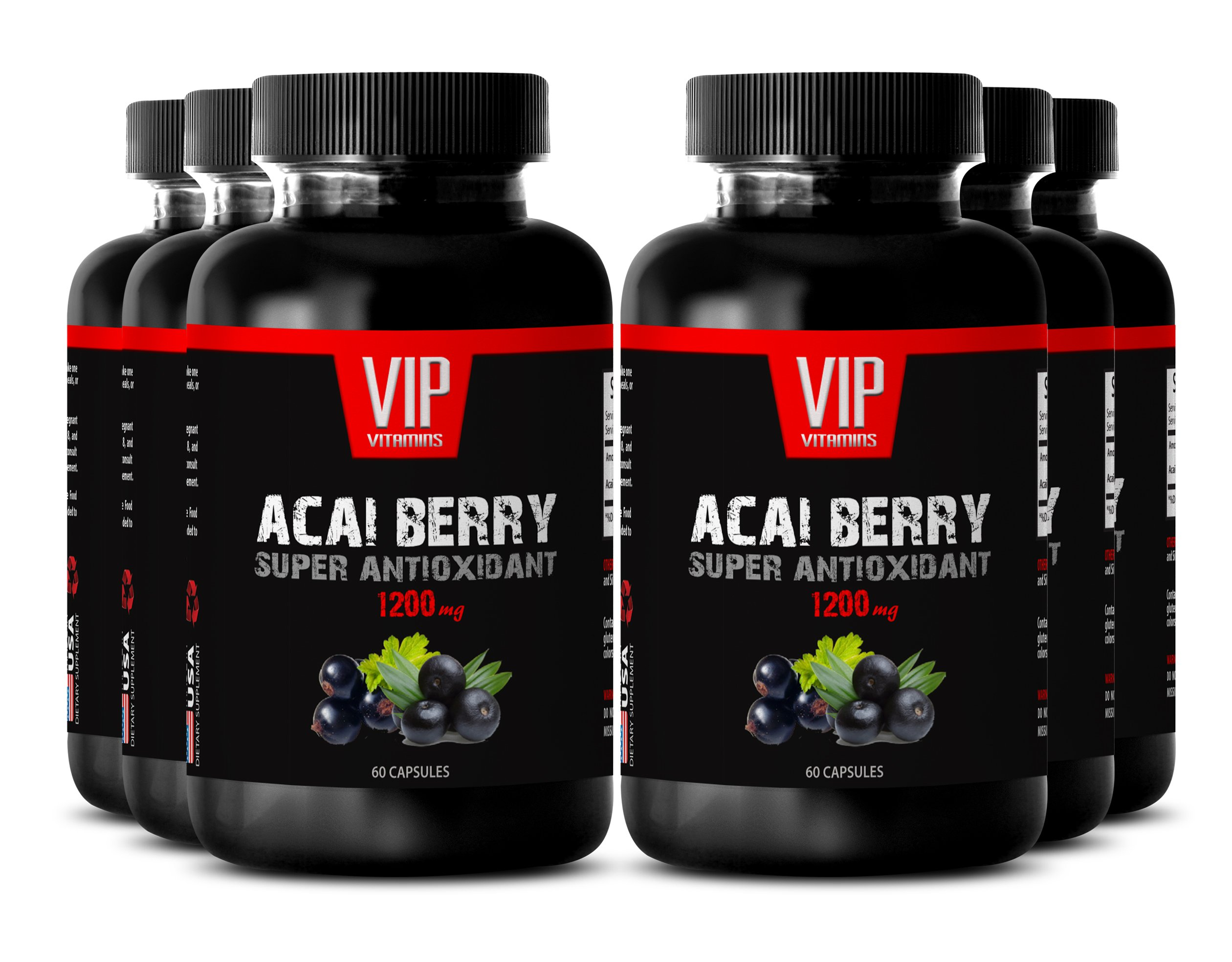 VIP VITAMINS Acai berry fitness - ACAI BERRY SUPER ANTIOXIDANT EXTRACT 1200 MG - Energy pills natural - 6 Bottles 360 Capsules