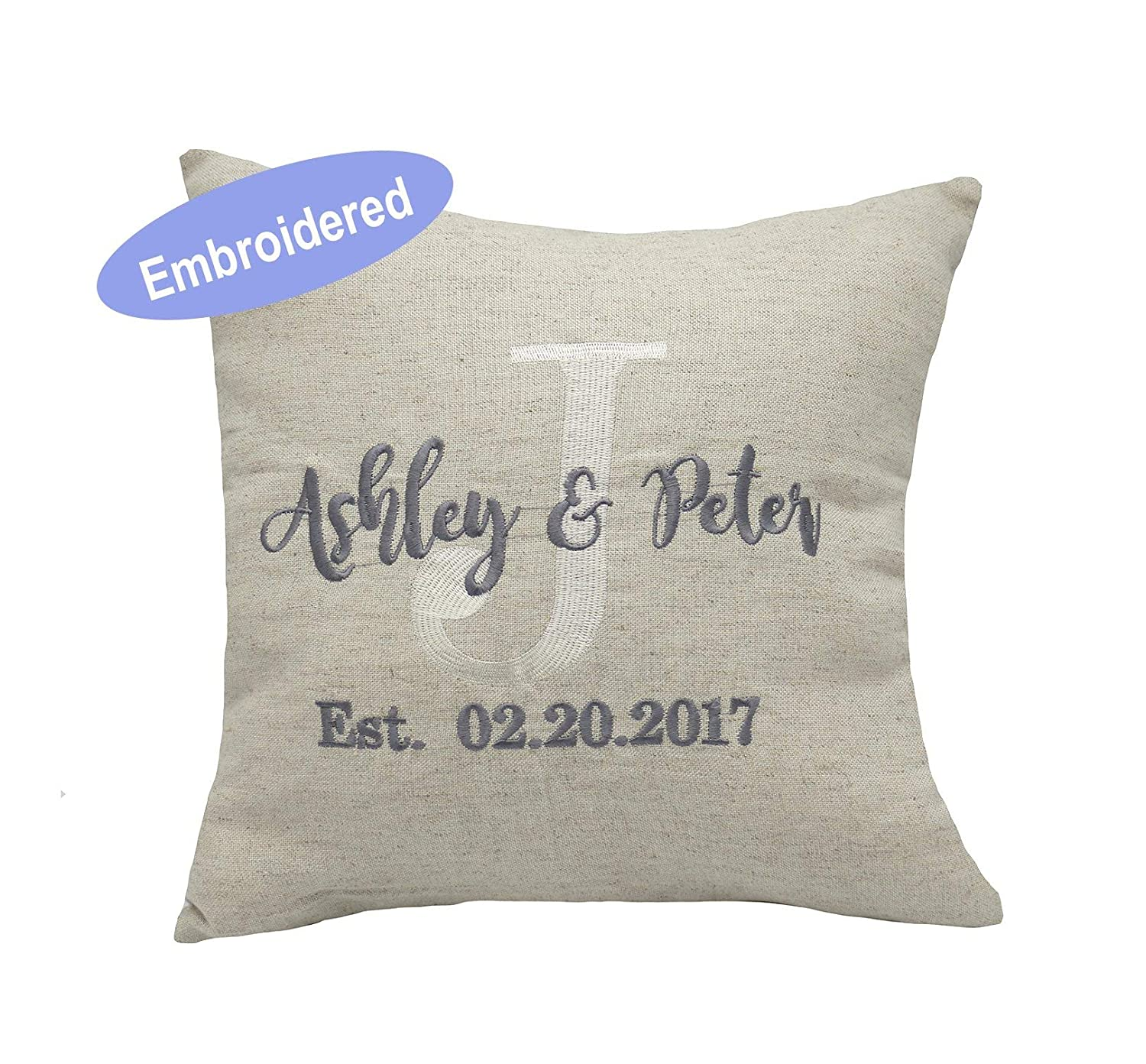 YugTex Cushion Cover Embroidered Pillow Covers, Couple Personalized Throw Pillowcases, Gifts for Wedding, Housewarming, Couple Gifts, Nursery, Valentine, Anniversary Gifts,Christmas Gifts.