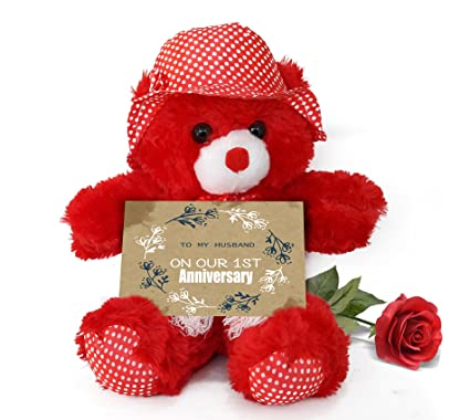 Buy tied ribbons teddy bear with artificial rose and greeting card tied ribbons teddy bear with artificial rose and greeting card wedding anniversary gifts for husband m4hsunfo