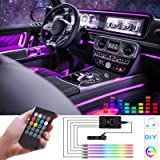 HOLDCY Car LED Strip Light, RGB Interior Car Lights,5 in 1 with 236.22 inches Fiber Optic, Multicolor Ambient Lighting Kits,