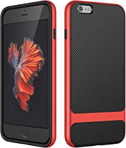 JETech Case for iPhone 6s Plus and iPhone 6 Plus, Slim Protective Cover with Shock-Absorption, Carbon Fiber Design, Red