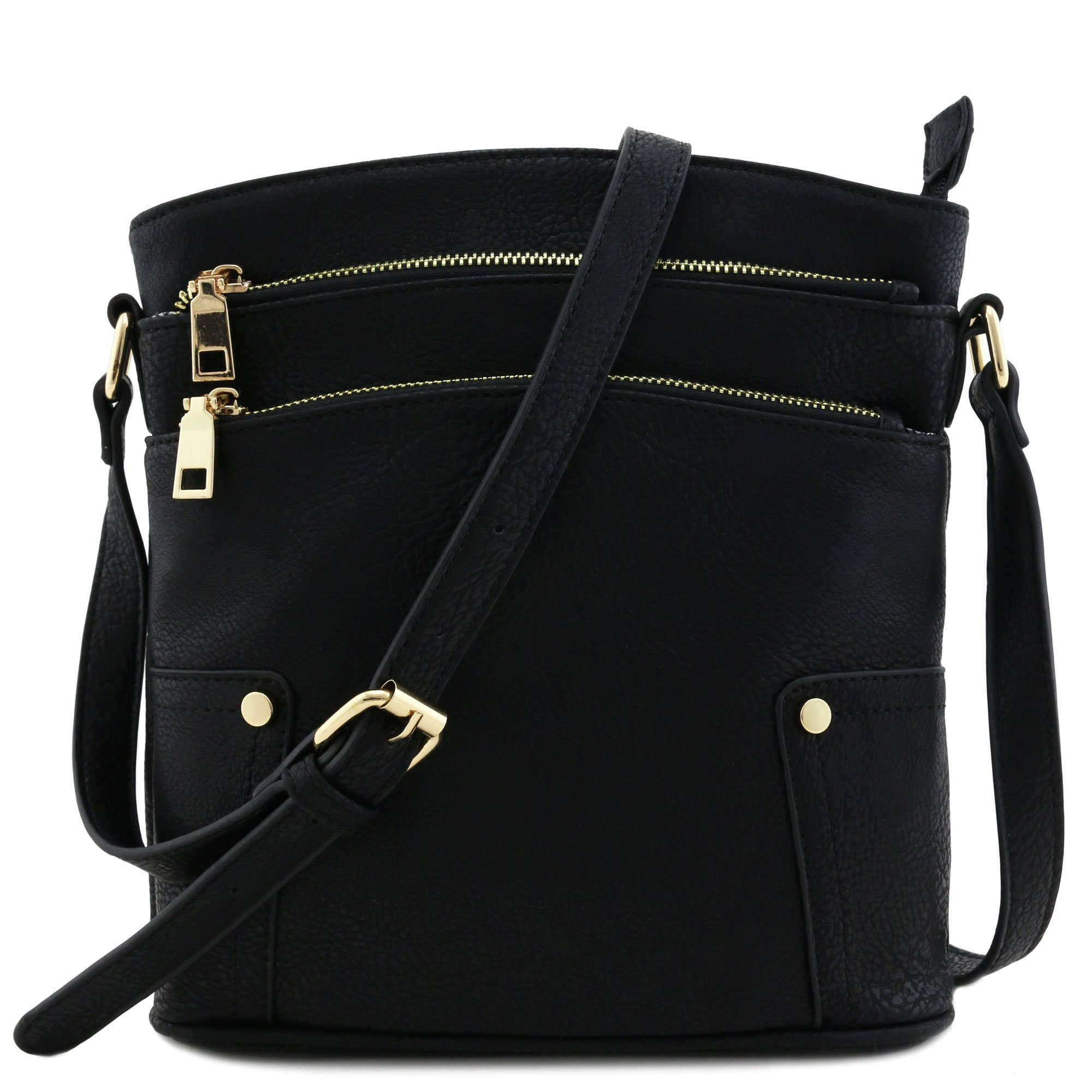 Triple Zip Pocket Medium Crossbody Bag Black