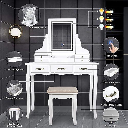 ENSTVER LED Vanity Table,7 Drawers Makeup Dressing Table