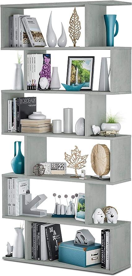 Habitdesign Estantería Salon, Comedor, Modelo Athena, Acabado en Color Cemento, Medidas: 192 cm (Alto) x 80 cm (Ancho) x 25 cm (Fondo)