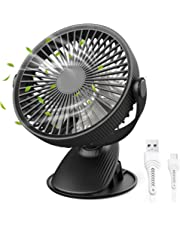 Gocheer Clip Operado en el Ventilador, Mini Ventilador de Escritorio Portátil de Mano Alimentado por una Batería Recargable o USB, Pequeño Ventilador Personal para el Cochecito de Bebé Mesa