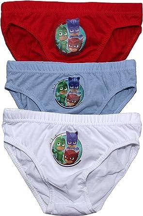 PJ Masks Childrens Boys Catboy Owelette and Gekko Three Pack Underwear Briefs SetBlue-Red-