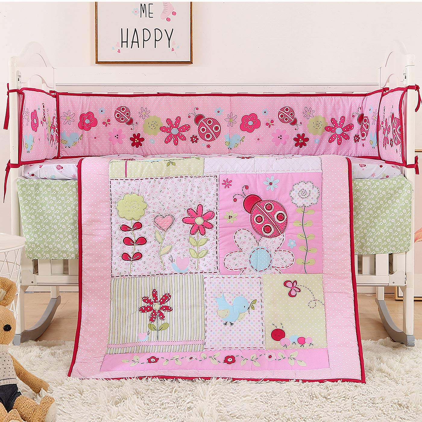 Pink Floral Ladybug Baby Crib Bedding Sets 7 Pieces  4 Bumper Pads (7 Pieces, Pink Flowers)