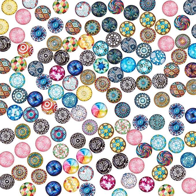 demi-rond//Dôme Avec Mosaïque Motif 12 mm 20 x Multicolore Verre cabochons