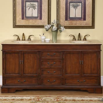 Silkroad Exclusive Travertine Stone Top Double Sink Bathroom Vanity With  Cabinet, 72 Inch