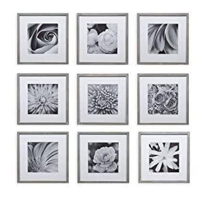 Gallery Perfect Square Decorative Art Prints & Hanging Template 9 Piece Greywash Photo Frame Wall Gallery Kit Grey