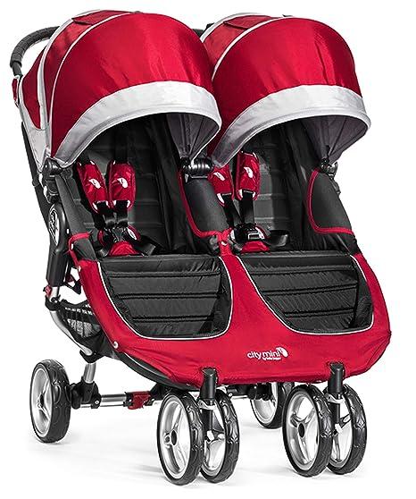 Baby Jogger City Mini Gemelar - Silla de paseo, color rojo/gris