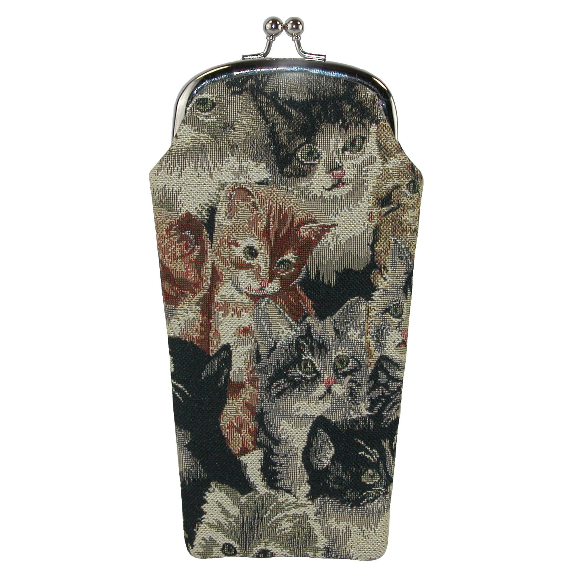CTM Women's Cat Print Tapestry Glasses Case, Cat