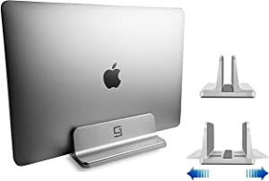 Adjustable Laptop Stand Dock | Compatible with All Laptops | Vertical Modern Aluminum Custom Fit Desktop Space-Saving & Portable (Silver)